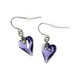 Boucles d'oreilles coeur violet CESSY Paris ornées de SWAROVSKI® ELEMENTS
