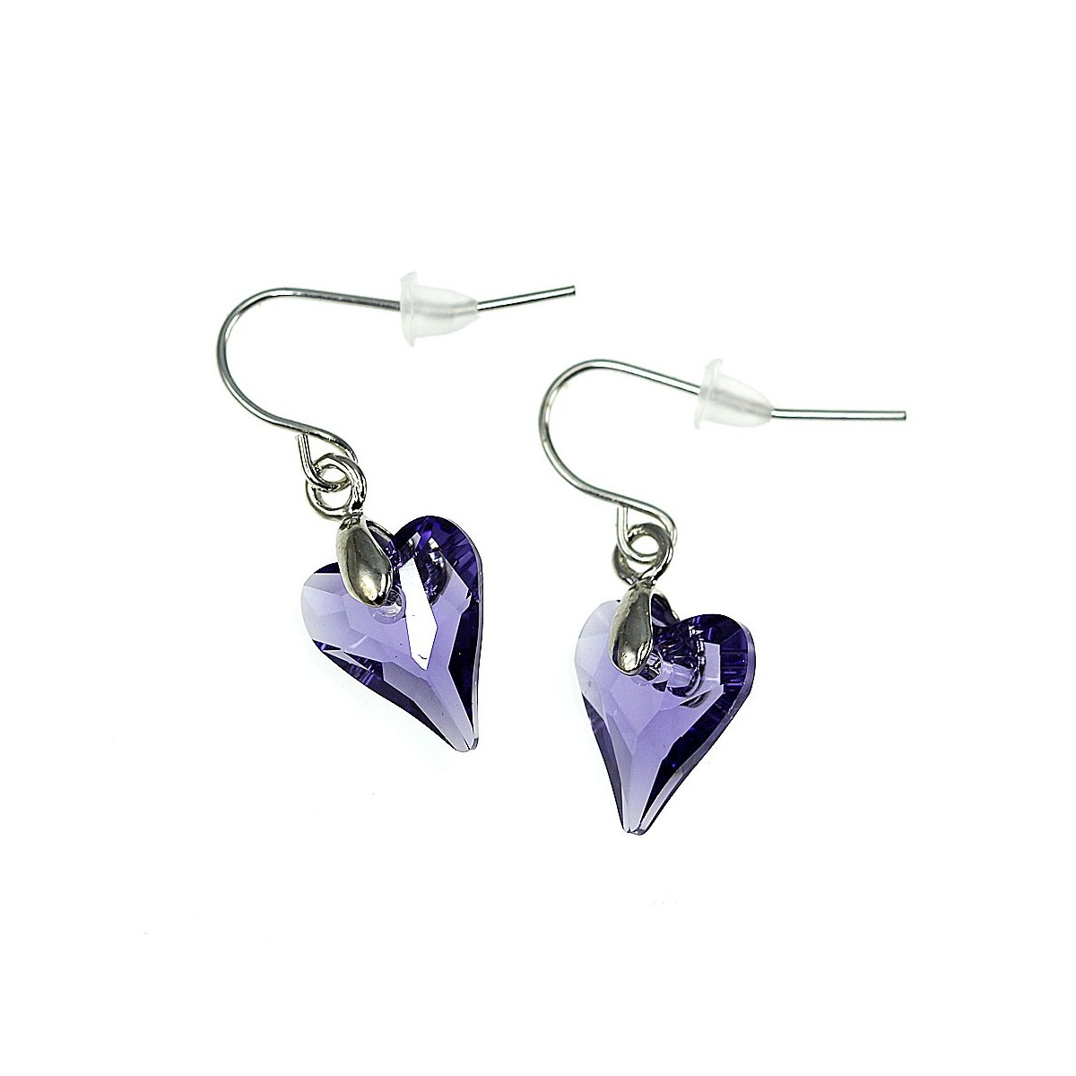 Boucles d'oreilles So Charm ornées d'un coeur violet made with crystal from Swarovski