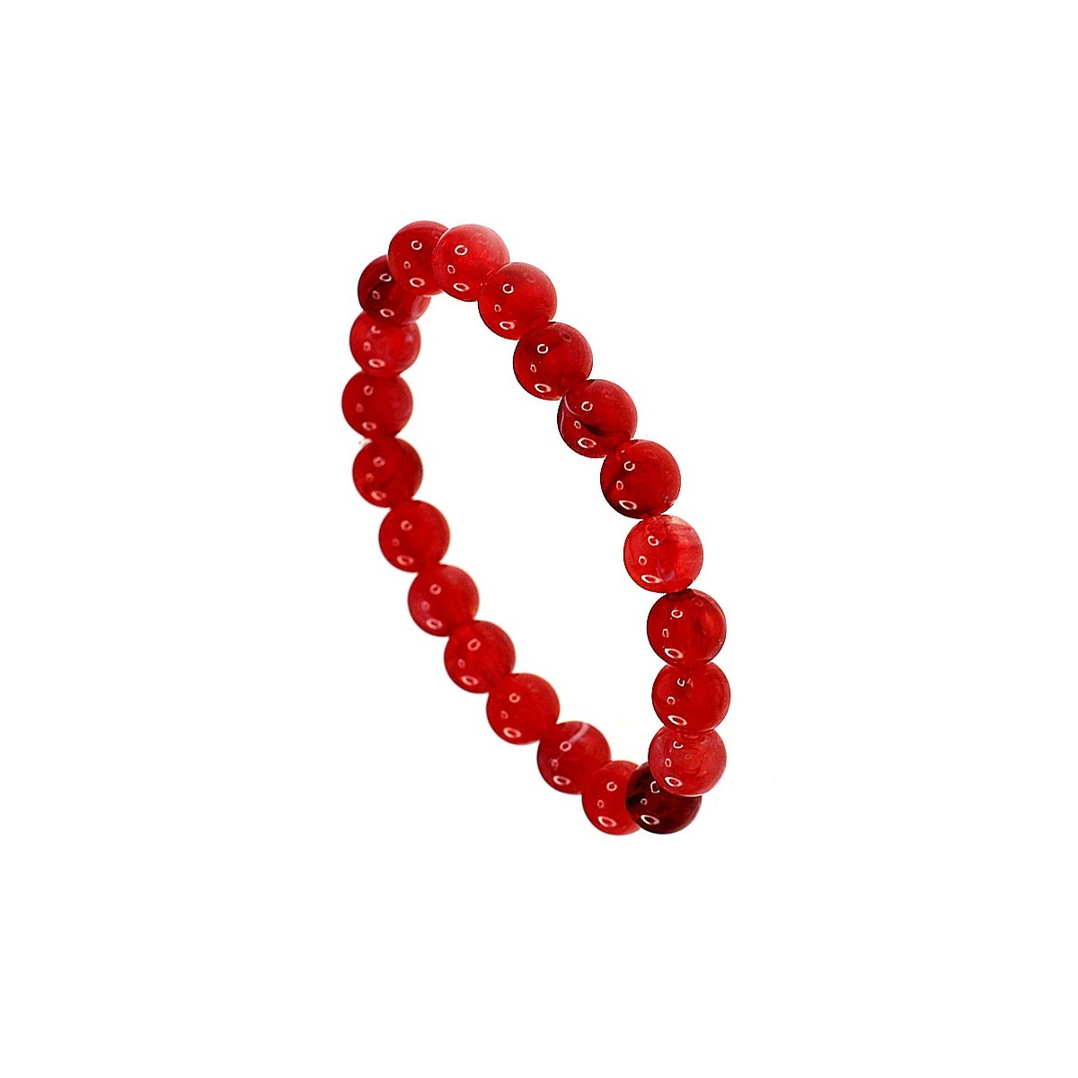 SB038 rouge Bracelet perles de verre rouge