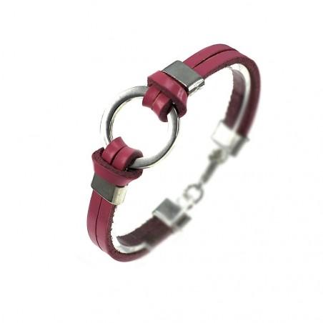 Bracelet métal et cuir rose