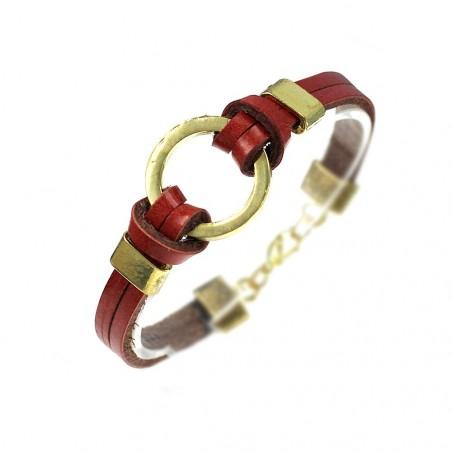 Bracelet métal et cuir rouge