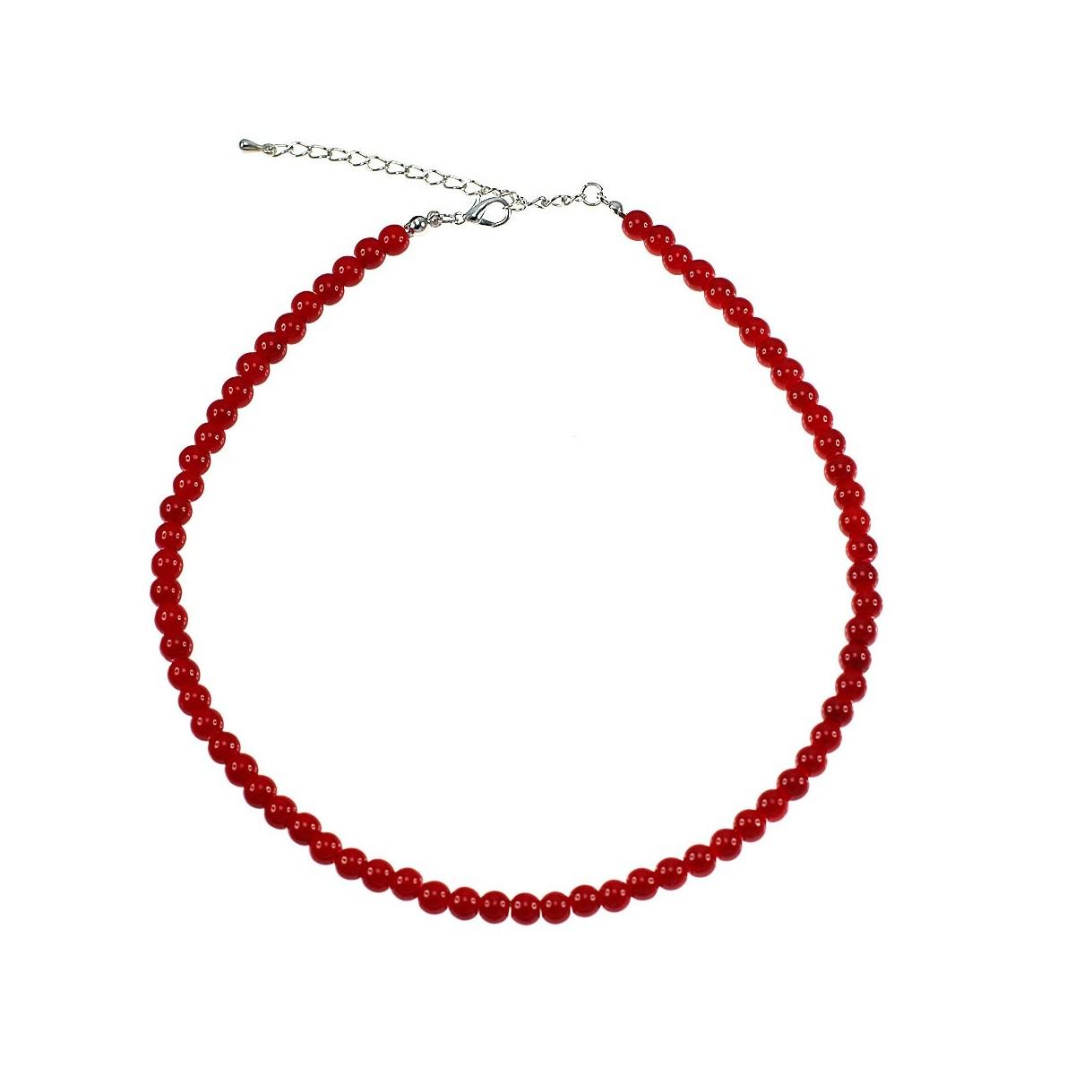 Collier perles de verre rouge