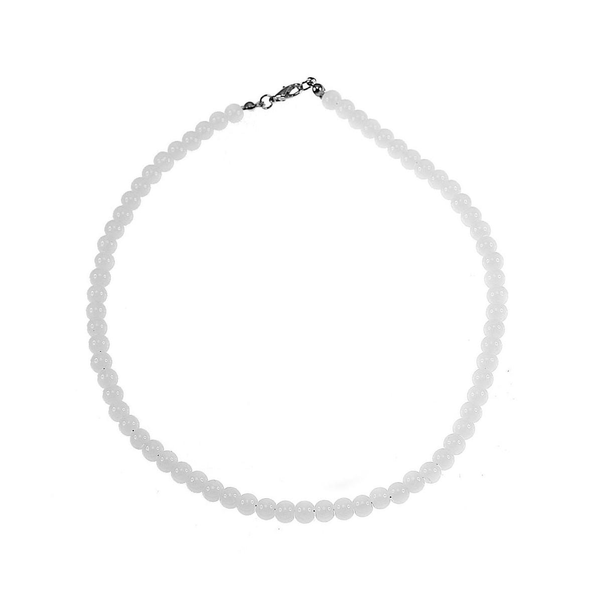 Collier perles de verre blanc
