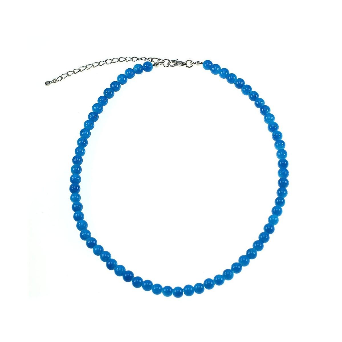 Collier perles de verre bleu