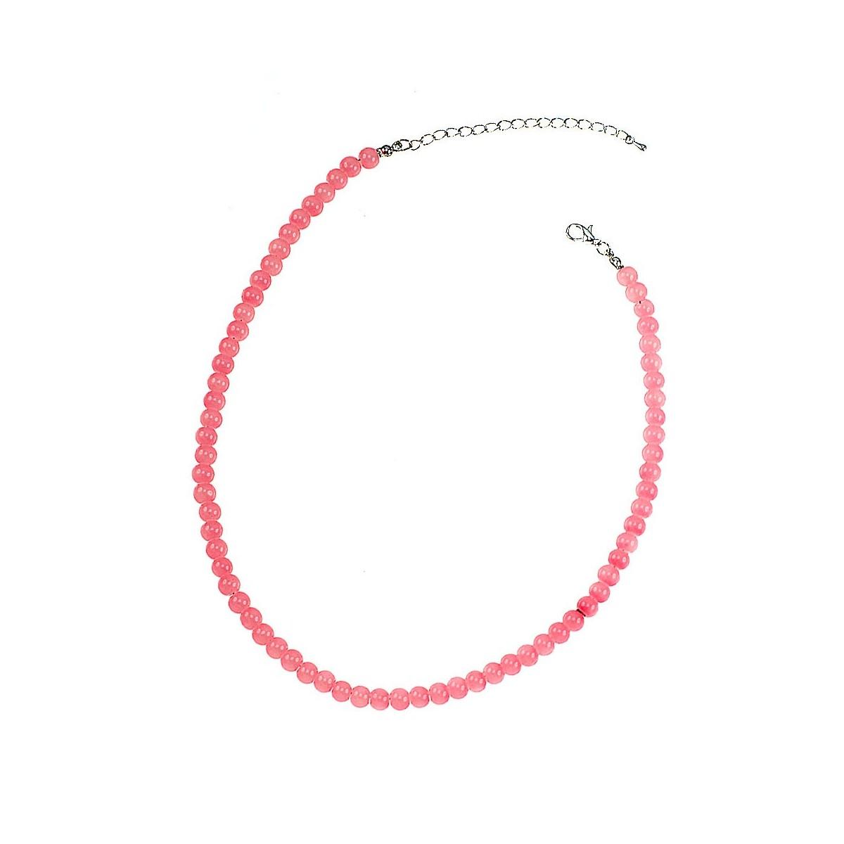 Collier perles de verre rose