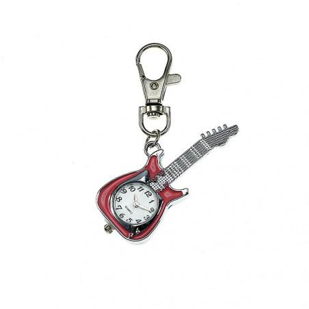 Porte-clé montre guitare rose