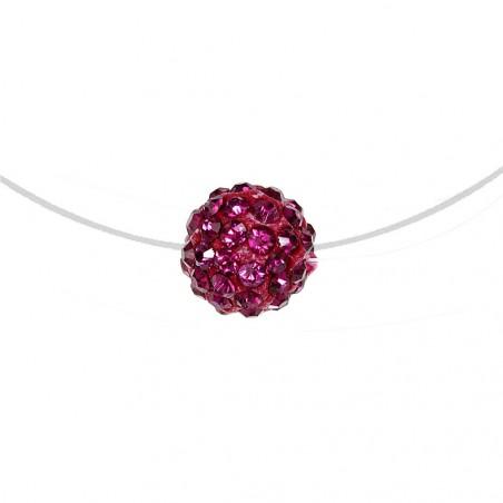 Collier nylon et perle de shambalah rose