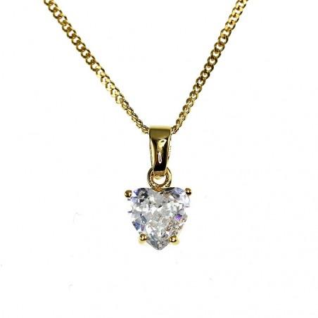 Collier plaqué or et pendentif zirconium