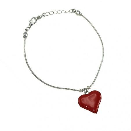 Bracelet argenté et coeur rouge