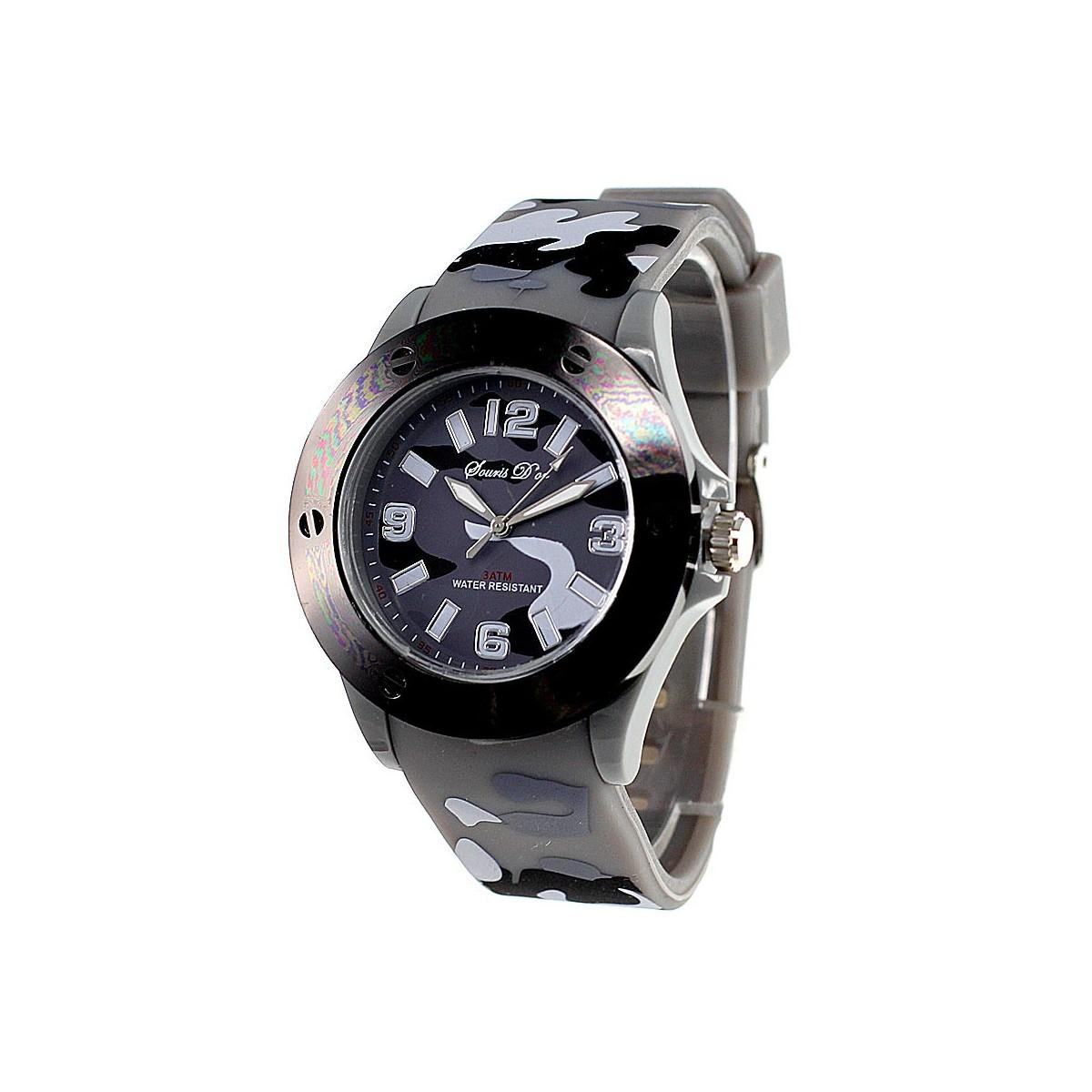 Montre militaire bracelet silicone gris