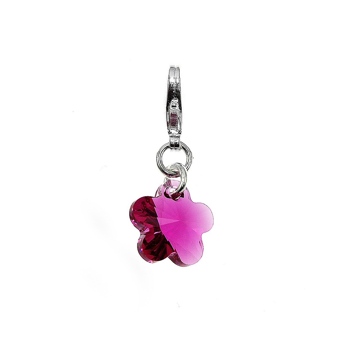 Charm fleur rose So Charm made with Crystal from Swarovski