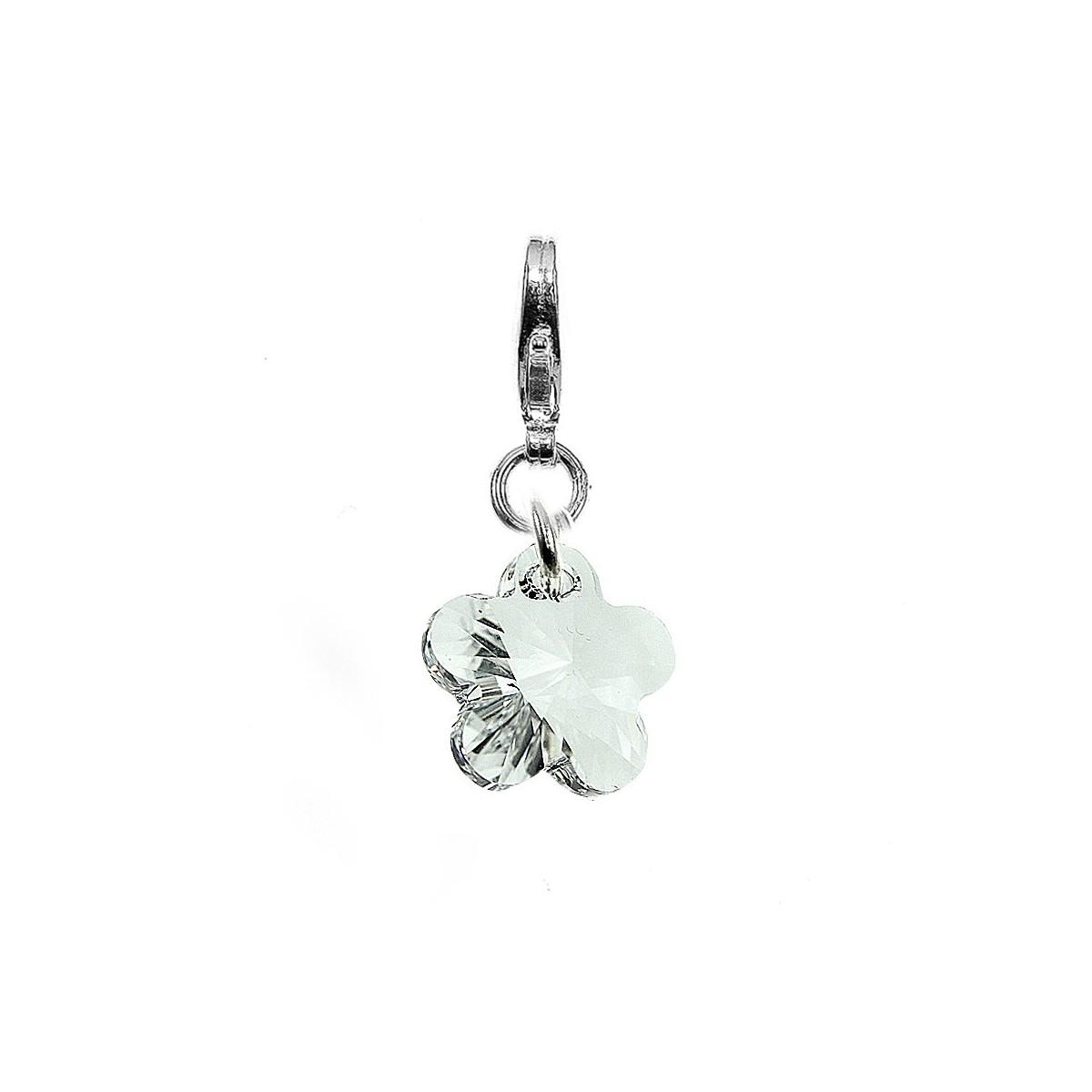 Charm fleur orné d'un cristal blanc SWAROVSKI® ELEMENTS par So Charm