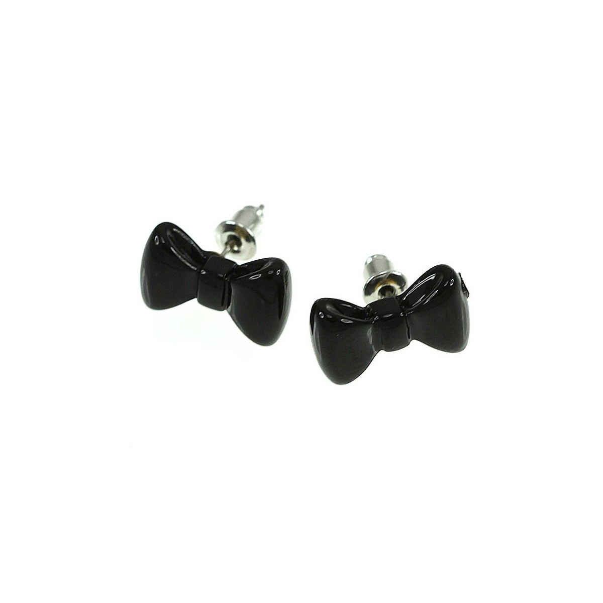 B553 noir Boucles d'oreilles noeud papillon noir
