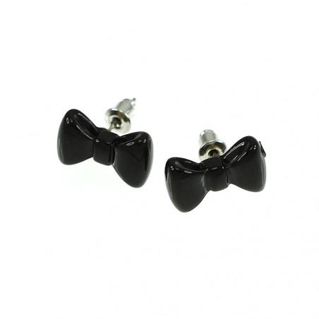 Boucles d'oreilles noeud papillon noir