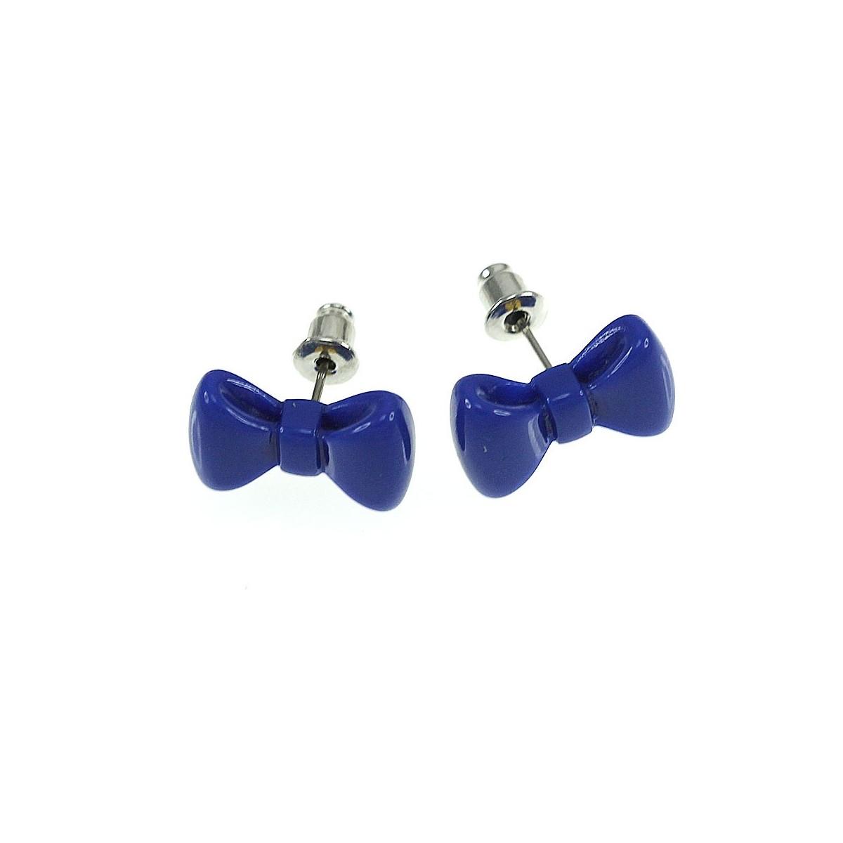 Boucles d'oreilles noeud papillon bleu