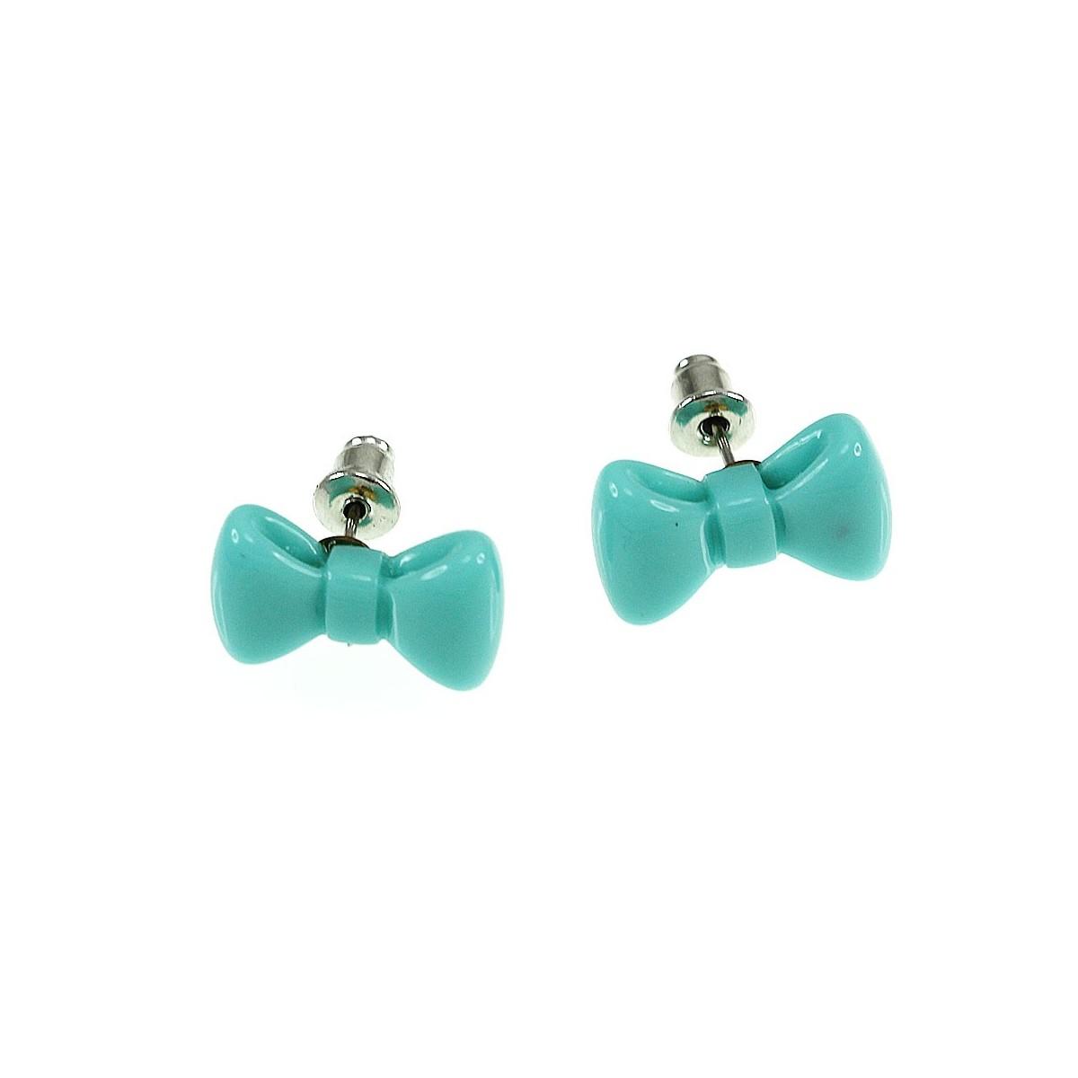 B553 bleu turquoise Boucles d'oreilles noeud papillon bleu