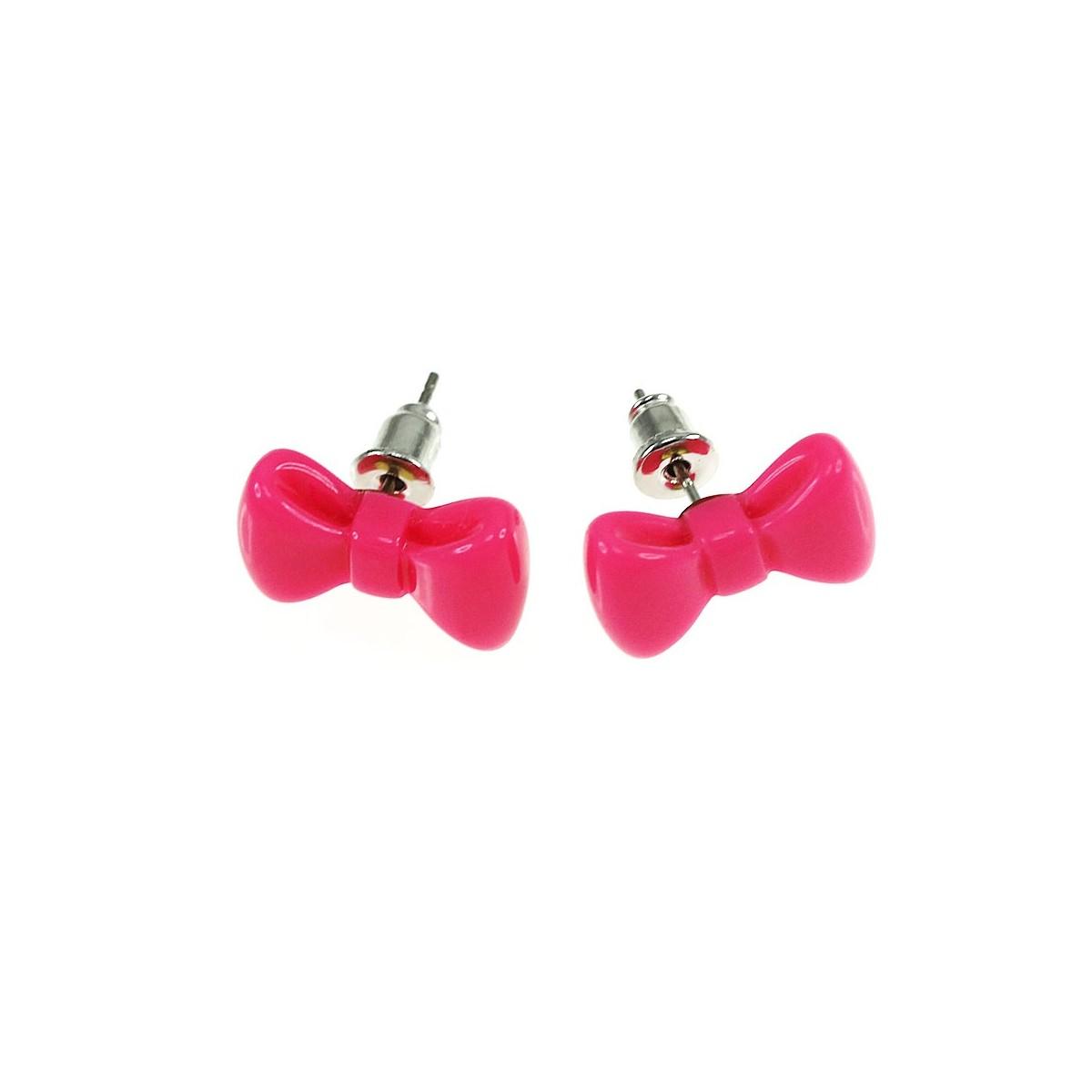 Boucles d'oreilles noeud papillon rose