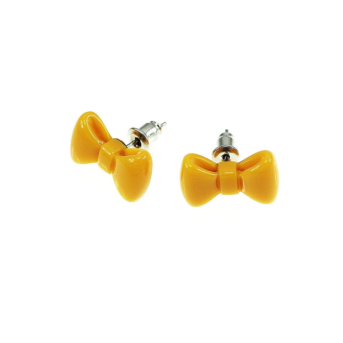 Boucles d'oreilles noeud papillon orange