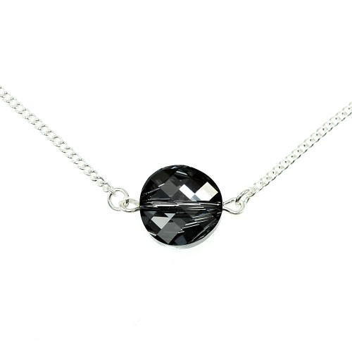 Collier argenté So Charm made with Crystal from Swarovki noir