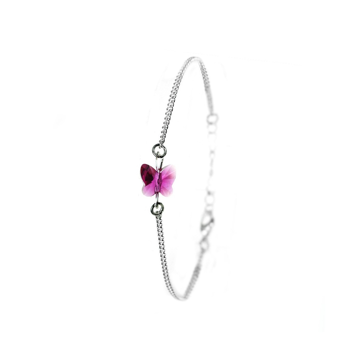 Bracelet argenté So Charm orné d'un papillon rose made with crystal from Swarovski