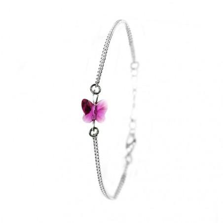Bracelet argenté So Charm orné d'un papillon rose made with crystal from Swarovski