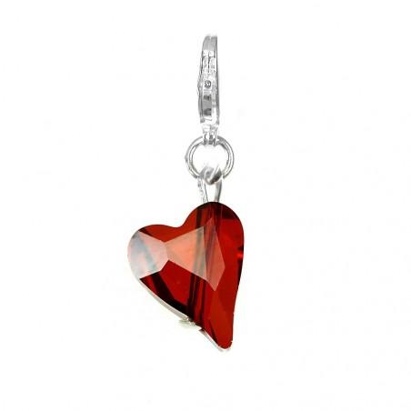 Charm coeur orné d'un cristal rouge SWAROVSKI® ELEMENTS par So Charm
