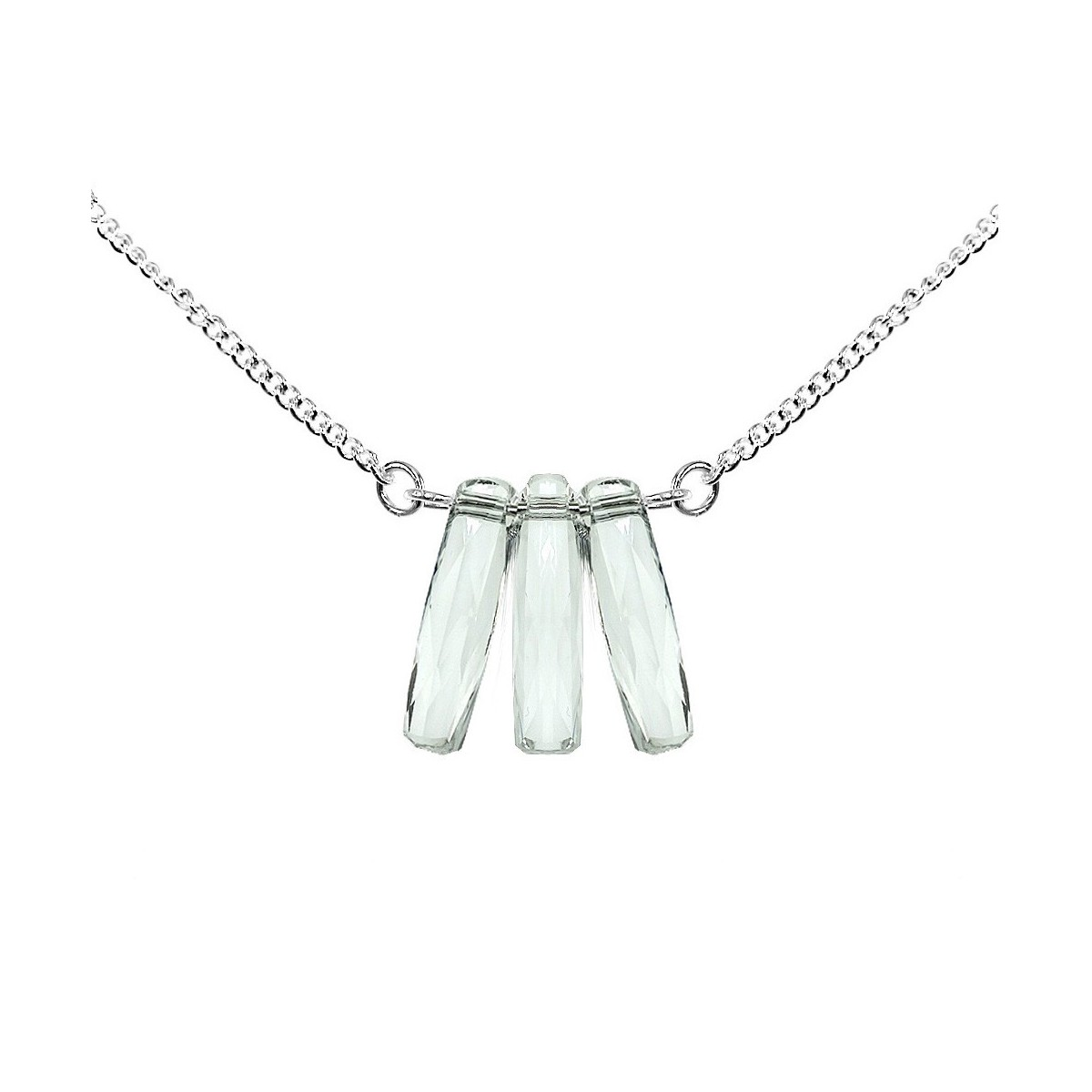 B672 Collier plaqué argent So Charm orné de cristaux SWAROVSKI® ELEMENTS blancs