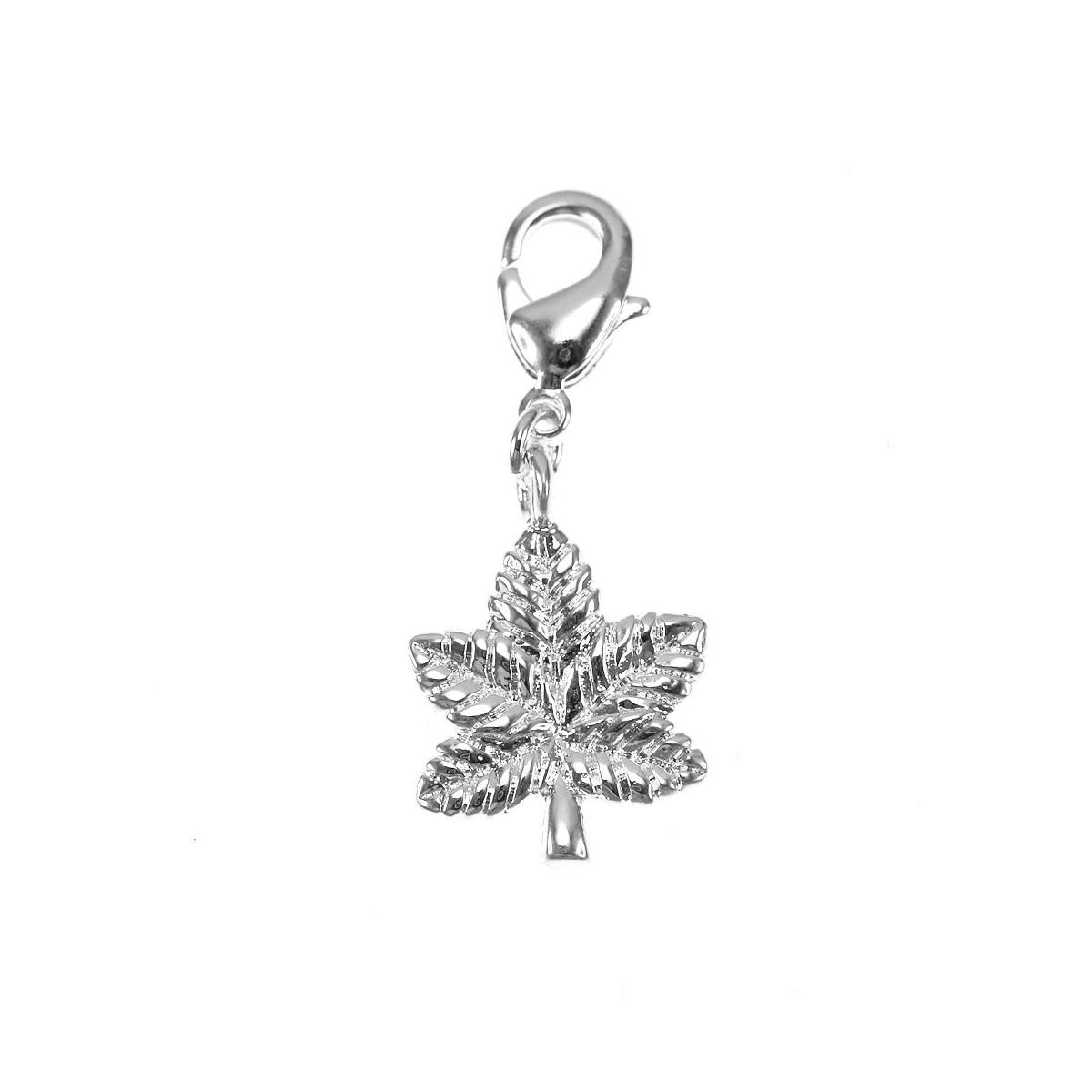 Charm feuille de cannabis argenté So Charm