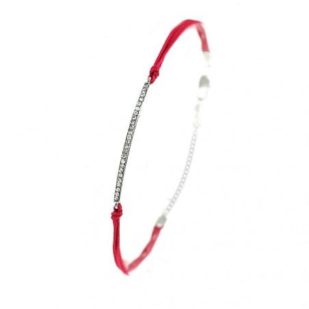 Bracelet fushia ligne de strass