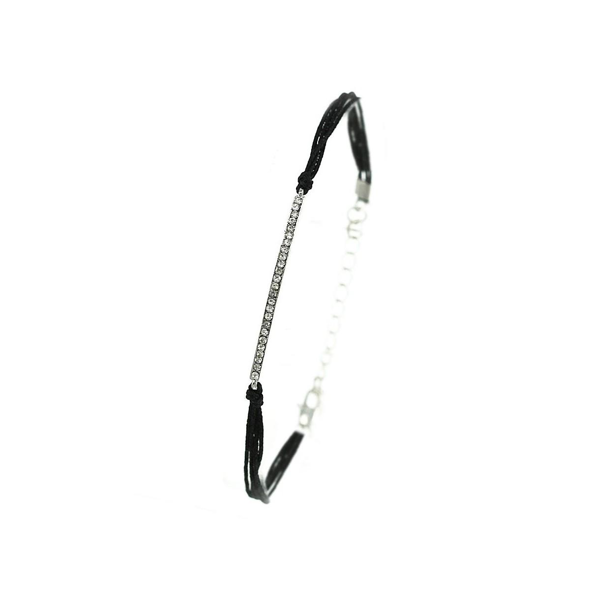 Bracelet noir ligne de strass
