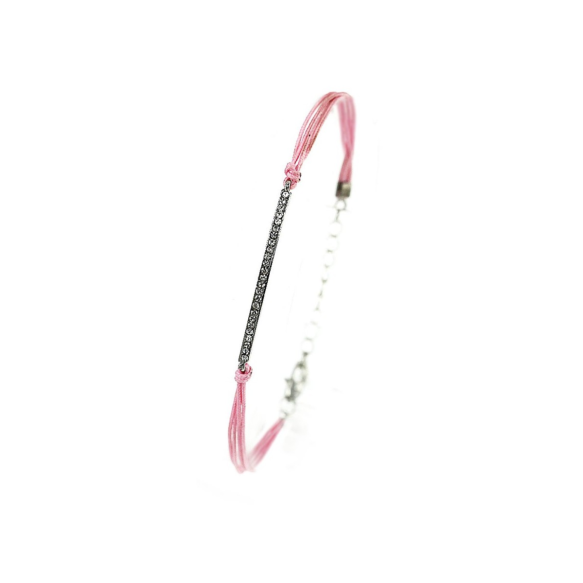 Bracelet rose ligne de strass