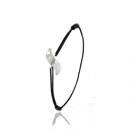 Bracelet élastique noir So Charm orné d'un cristal blanc made with crystal from Swarovski