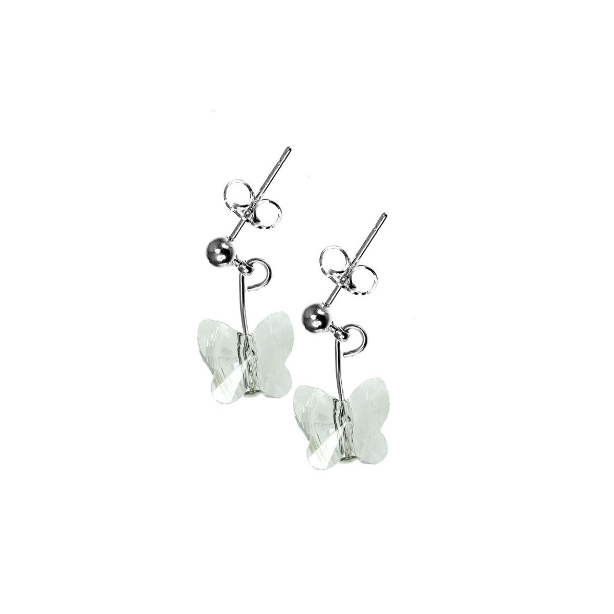 Boucles d'oreilles So Charm ornées d'un papillon blanc made with crystal from Swarovski