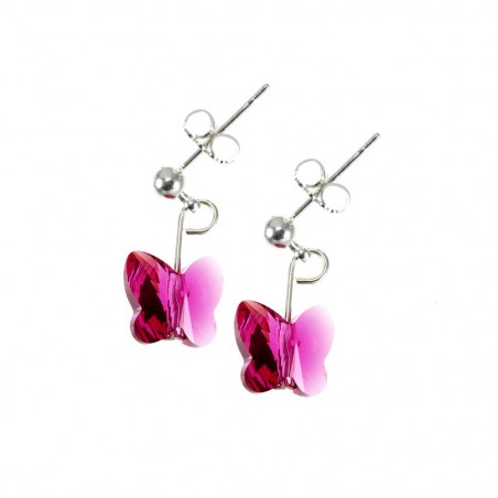 Boucles d'oreilles So Charm ornées d'un papillon rose made with crystal from Swarovski