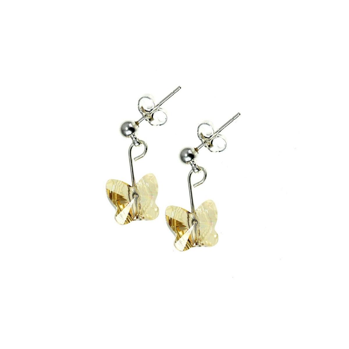 Boucles d'oreilles So Charm ornées d'un papillon golden made with crystal from Swarovski