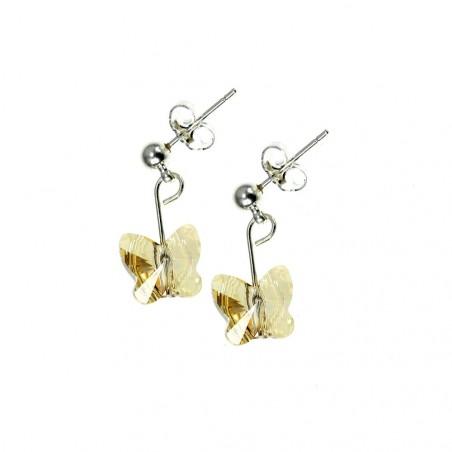 Boucles d'oreilles So Charm ornées d'un papillon golden made with crystal from Swarovski