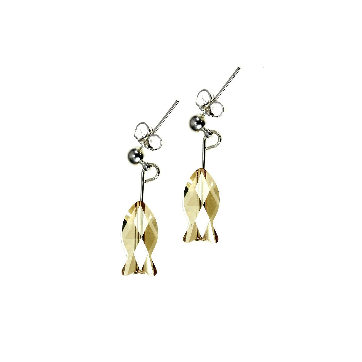 Boucles d'oreilles So Charm ornées d'un poisson golden made with crystal from Swarovski