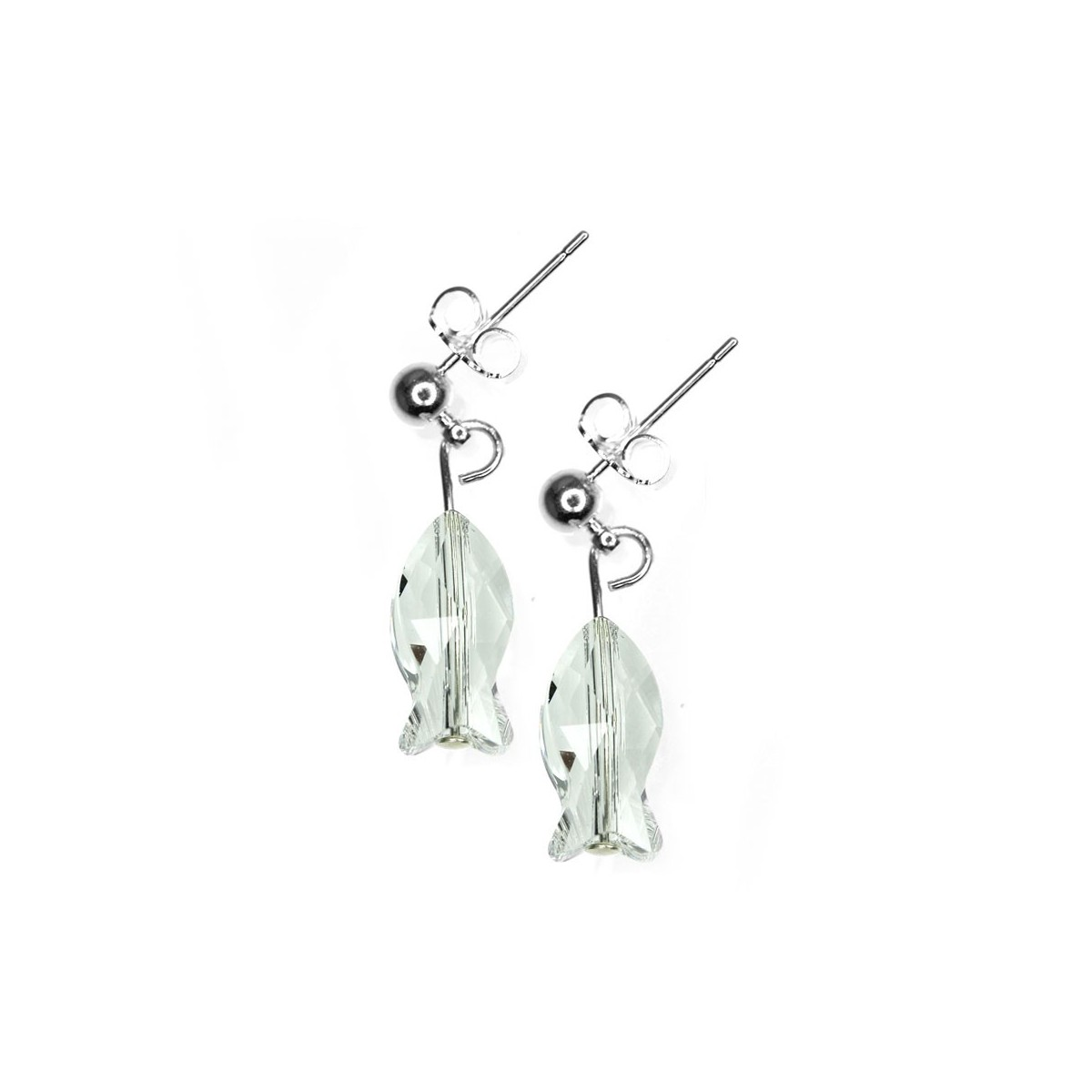 BS040-SE008-CRYS Boucles d'oreilles So Charm ornées d'un poisson blanc made with crystal from Swarovski
