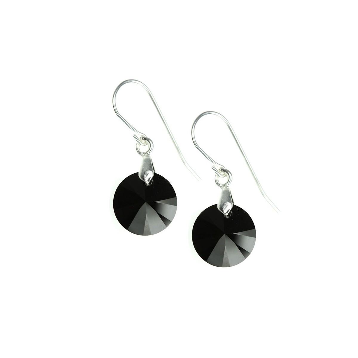 Boucles d'oreilles So Charm ornées d'un cristal noir made with crystal from Swarovski