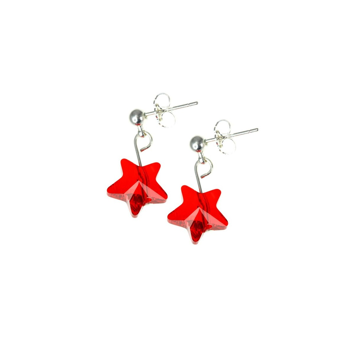 Boucles d'oreilles So Charm ornées d'une étoile rouge made with crystal from Swarovski