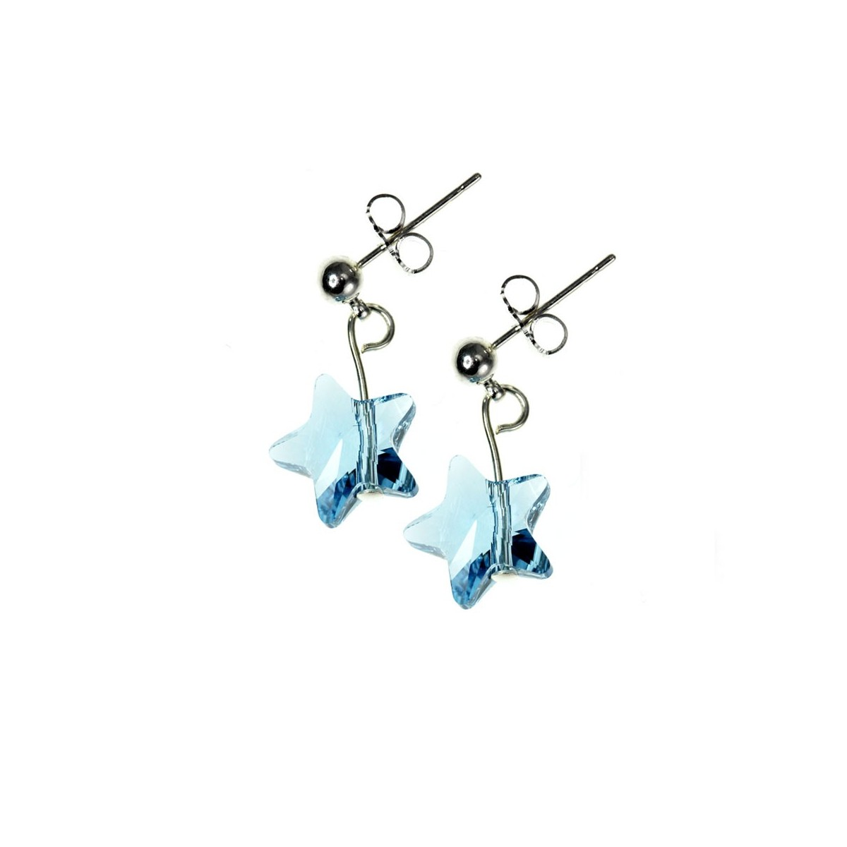 Boucles d'oreilles So Charm ornées d'une étoile bleu made with crystal from Swarovski