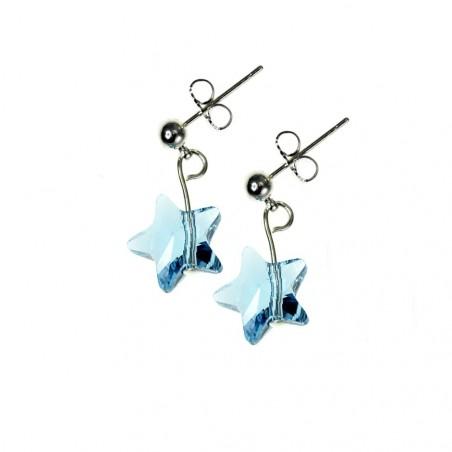 Boucles d'oreilles So Charm ornées d'une étoile bleu made with crystal from Swarovski