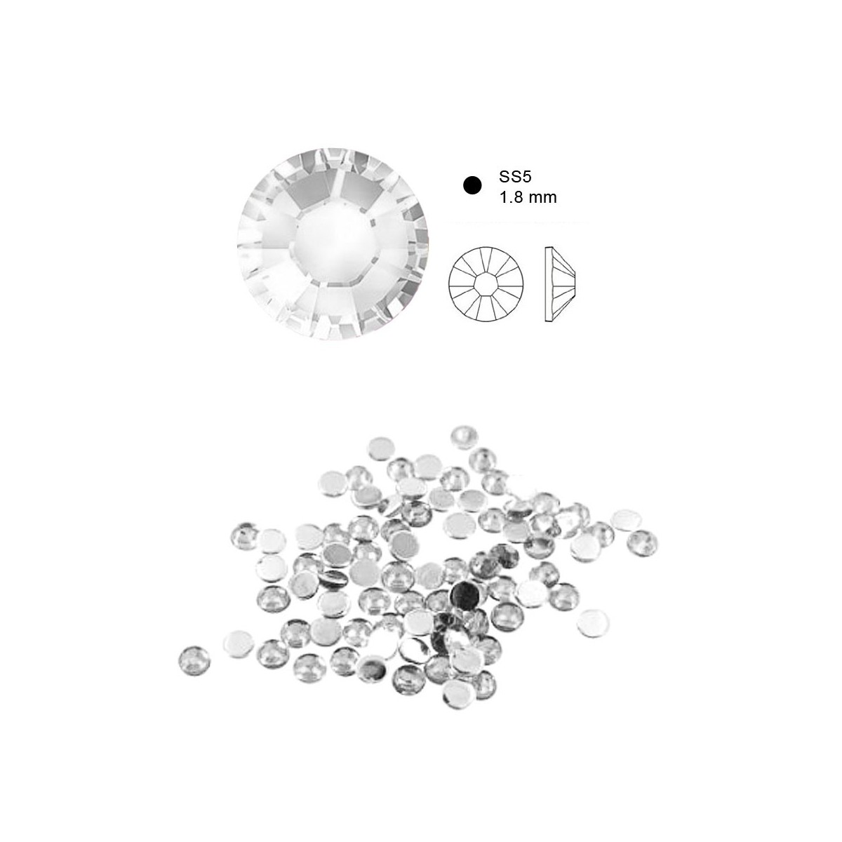 50 Cristaux de SWAROVSKI crystal à fond plat
