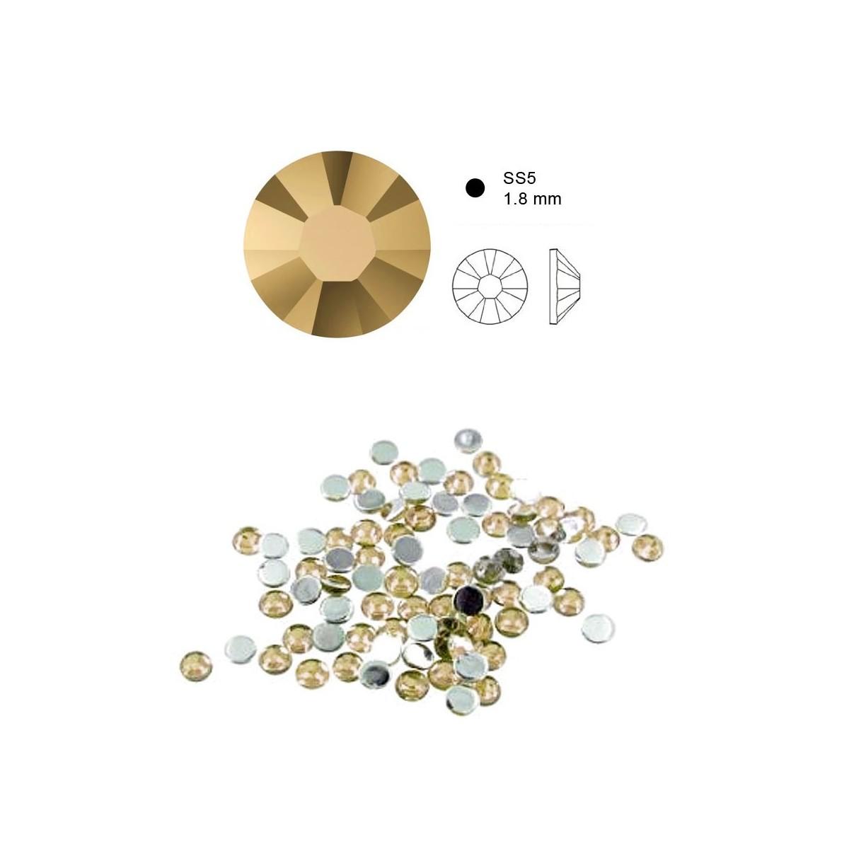 50 Cristaux de SWAROVSKI metalic light gold à fond plat