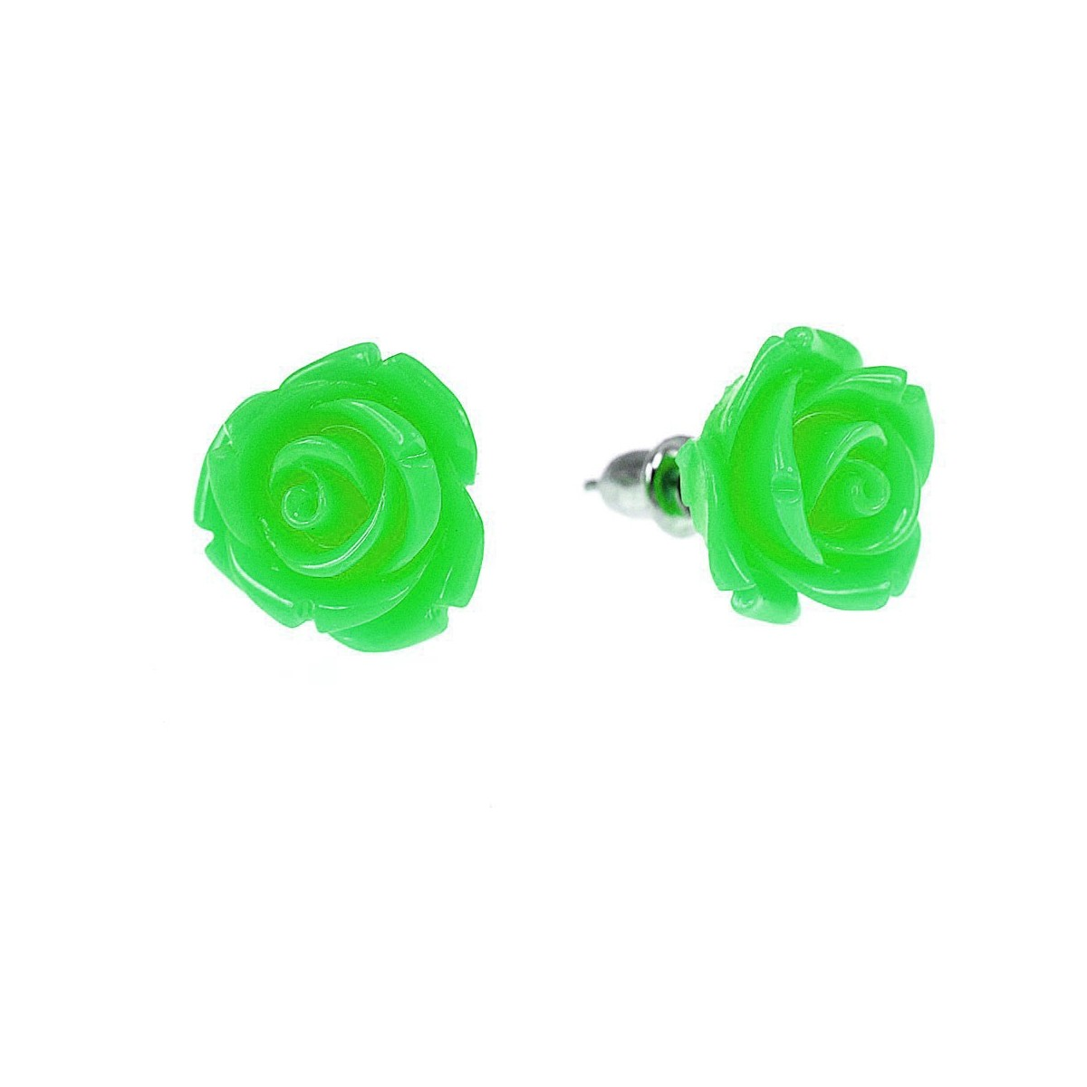 Boucles d'oreilles fleur vert