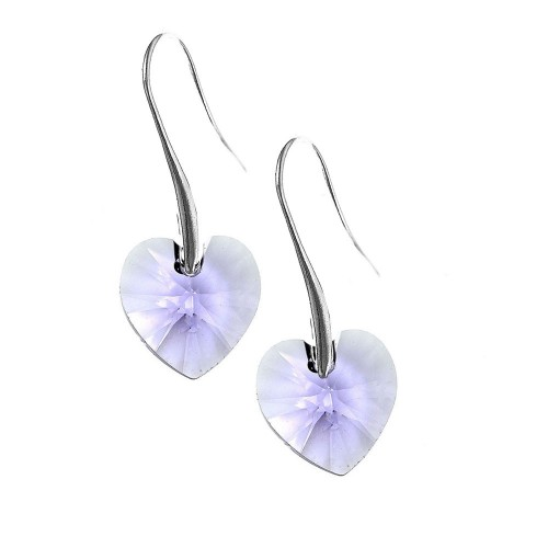 Boucles d'oreilles So Charm ornées d'un coeur violetmade with crystal from Swarovski
