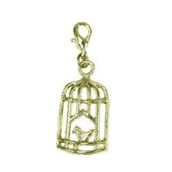 BR01 golden bird cage charm...