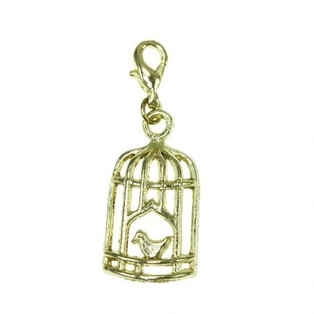 Breloque charm cage à oiseau dorée So Charm