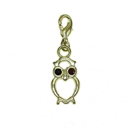 Breloque charm hibou doré avec cristaux de Bohème So Charm