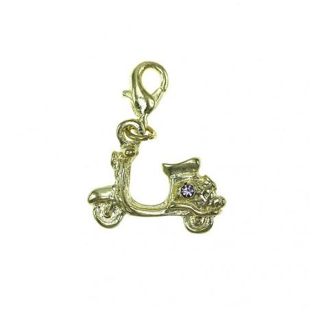 Breloque charm scooter Vespa doré avec cristal de Bohème So Charm
